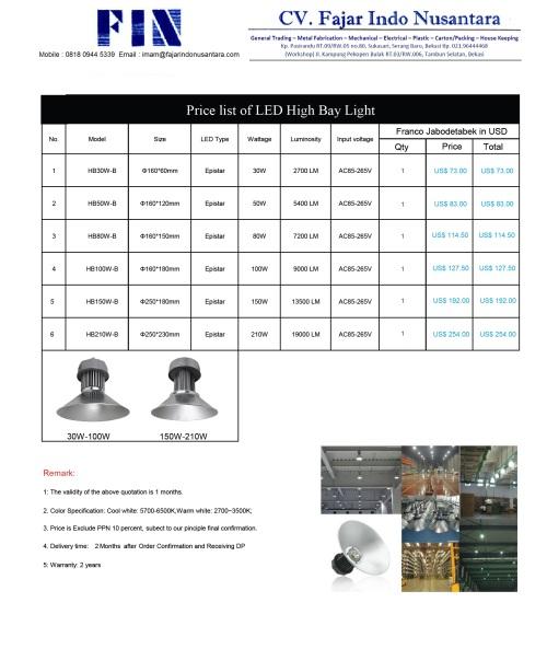 FIN HIGH BAY LIGHT PRICE LIST